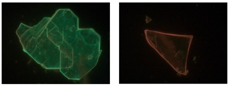 Wide-field photoluminescence micrographs (230-175 μm) show how some Perovskite flakes appear bright green over their entire area (left panel), whilst other flakes exhibit a distinctly red-shifted emission (right panel).