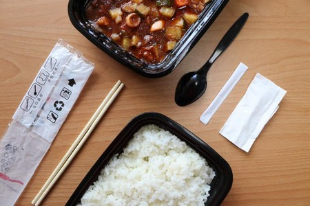 A typical meal ordered online