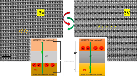 Electron microscope images, in the left panel a sample with a lot of oxygen atoms (some indicated with arrows), in the right panel a sample with many oxygen vacancies (some indicated with arrows). The schematic illustration shows movement of oxygen atoms and oxygen vacancies for two settings of the electric field over the capacitor. | Illustration Pavan Nukala