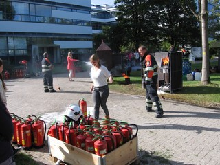 Many fire extinguishers are emptied during the exercises