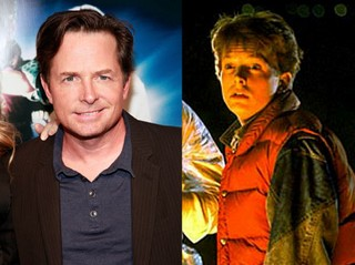 Michael J. Fox in 'Back to the Future' (rechts) en een recente foto