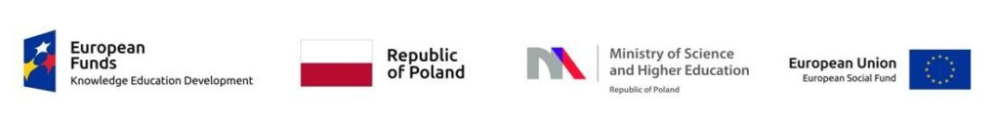 logo's of the European Funds, republic of Poland, Ministry of Science and Higher Education and the European Union