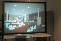 Our 2.0m x 1.5m back-projected 3D screen