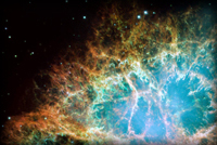 Crab Nebula as seen through the Hubble Space Telescope