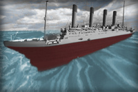 Computer model of the Titanic hitting a gigantic wave