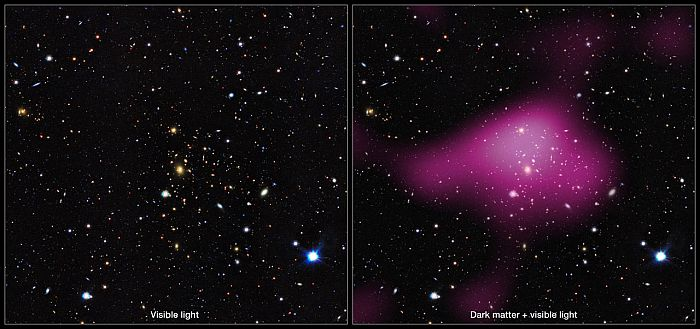 Left: An area of sky mapped by KiDS. Right: The same area, but with the invisible dark matter rendered in pink. Credit: Alex Tudorica and Catherine Heymans (Kilo-Degree Survey Collaboration)